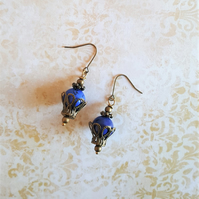 Steampunk Lapis Lazuli Hot Air Balloon Earrings Stocking Filler Gift