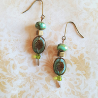 Rustic Earrings Baroque Medallion Picasso Czech Glass