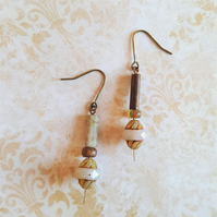 Rustic Earrings Picasso Czech Etched Glass