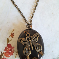 Steampunk Necklace Agate Butterfly Wirework
