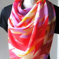 Unique pink and red designer 100% Silk scarf