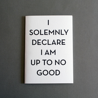 I solemnly declare I am up to no good! Greetings Card