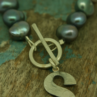 Grey Pearl bracelet with letter S charm