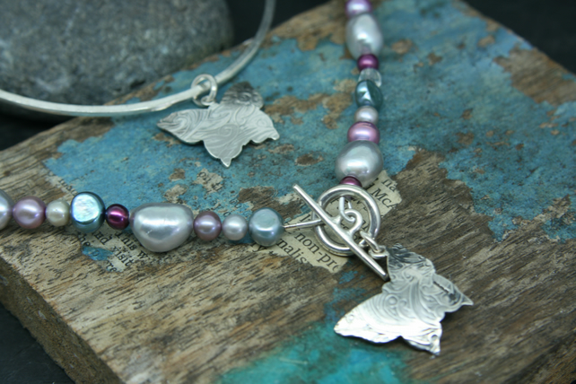 Butterfly necklace and bangle charm set