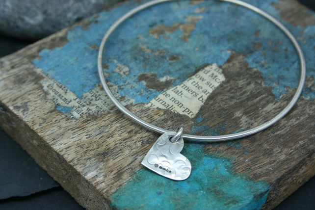 Sterling silver heart charm on bangle