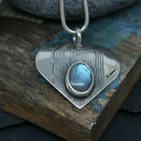 Lace imprinted silver heart with Labradorite