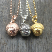 Cute silver acorn pendant on ball link chain