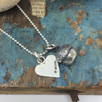 Acorn and heart pendants on chain