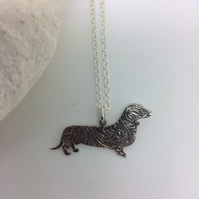 Olive the sausage dog pendant in Sterling Silver.