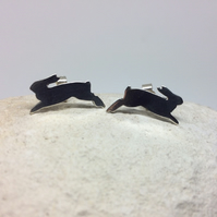 Sterling silver leaping rabbit stud earrings