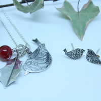 Sterling silver Robin and Holly necklace and earrings