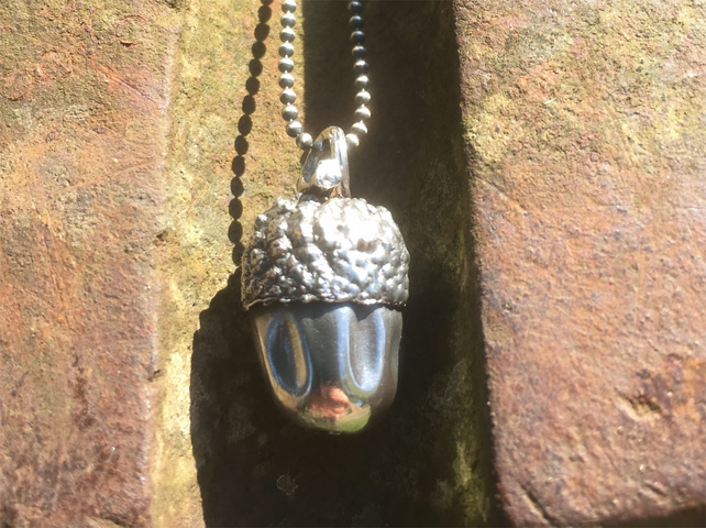 Large sterling silver acorn pendant