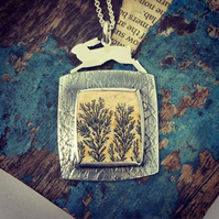 Leaping hare and sand stone meadow pendant