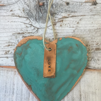Heart verdigris copper decoration