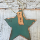 Star verdigris copper decoration