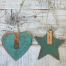Heart and star verdigris copper decoration gift set.