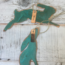 Leaping hare and gazing hare verdigris copper decoration gift set