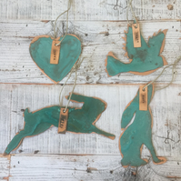 Set of four copper verdigris decorations - Heart, Dove, leaping and gazing hares