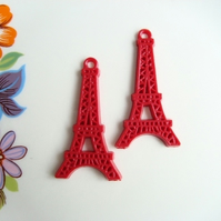 Vintage Red Cellulose Eiffel Tower Charms