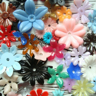 42 Mixed Vintage Plastic Flower Beads