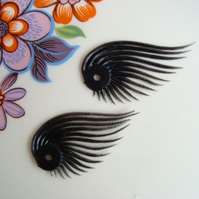 Vintage Plastic Black Eyelash Beads