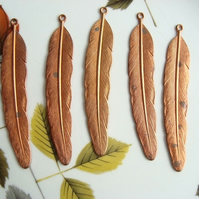 5 Vintage Brass Feather Beads
