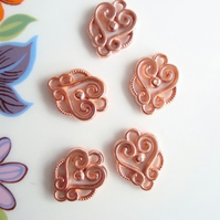 Vintage Lucite Copper Filigree Beads