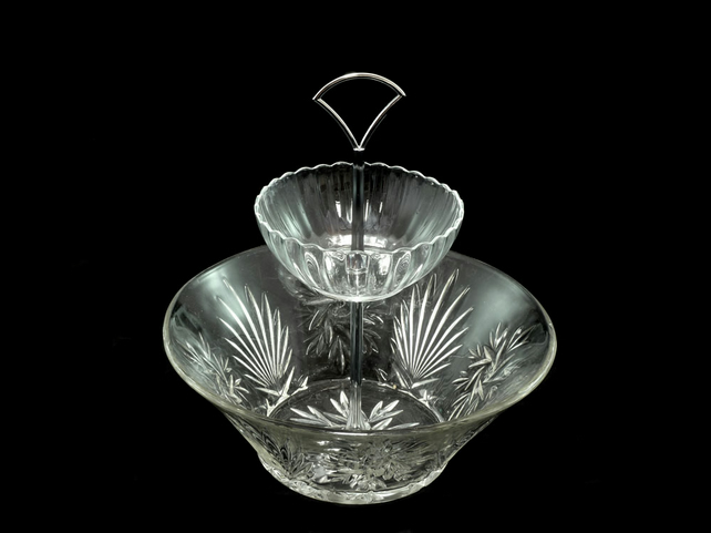 2 tier pressed glass fruit bowl jewellery stand cake stand