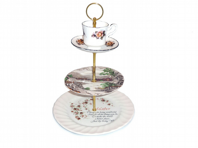 Mothers day cake stand, 3 tier with tea cup on top, 1950's style