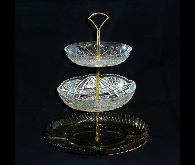 3 tier pressed glass cake stand fruit stand folksy. Black Bedroom Furniture Sets. Home Design Ideas