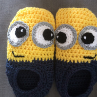Minion Crocheted Slippers Large