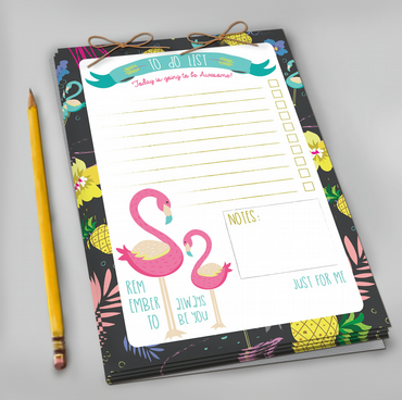 Tropical Flamingo Daily To Do List Notepad
