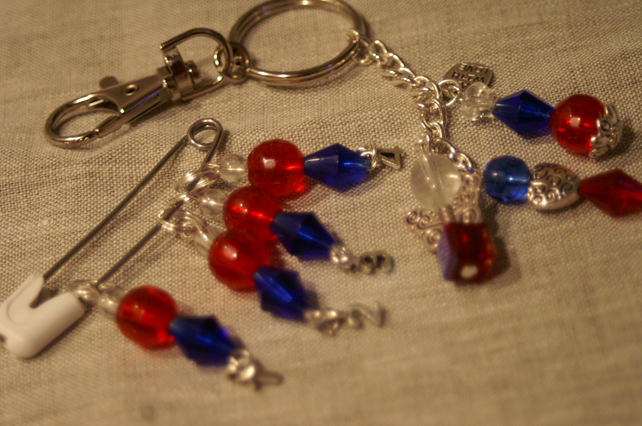 Queens Jubilee Stitch Markers and Bag Charm