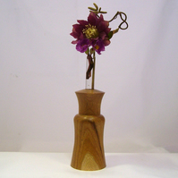 TURNED BUD VASE IN ENGLISH MULBERRY WOOD