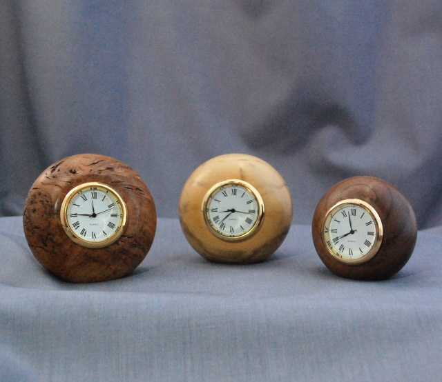 Wooden Clocks in  Burr Oak and Laburnum