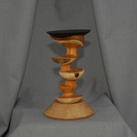 Candlestick in Turned Yew and Oak