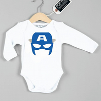 Captain America baby grow