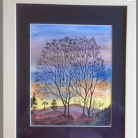 Original Watercolour, Painting, Sunset, silhouette, trees, by Pat Smith
