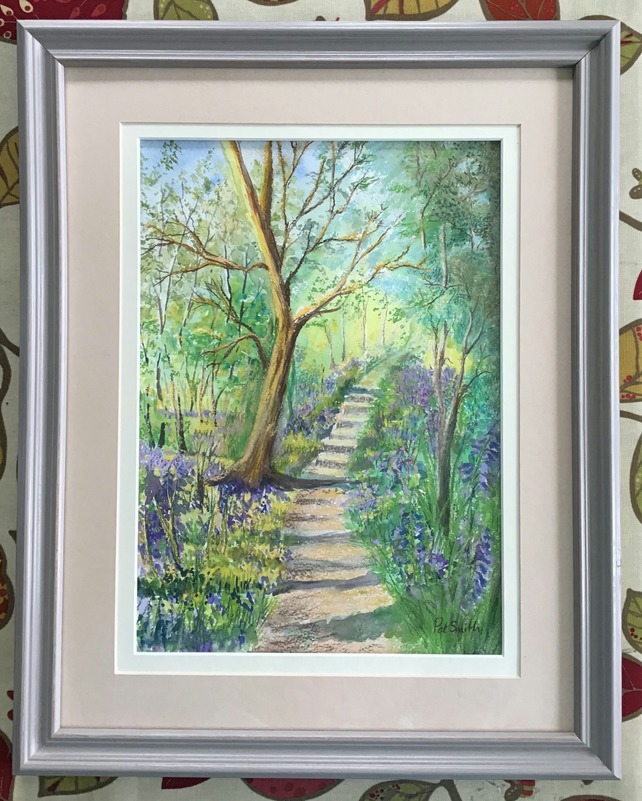 Original Painting, Bluebell Wood, Mixed Media, Wooden frame,