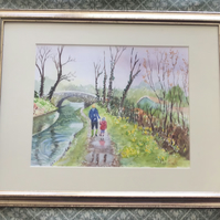 Original Watercolour, Painting, A Walk along the Canal Tow Path, Framed,