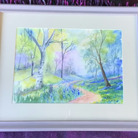 Bluebell Glade, Original Watercolour, Framed
