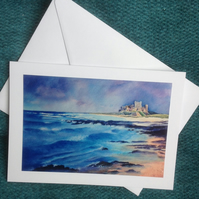 "Hand made card from original watercolour, Bamburgh Castle, Blank inside, 5"" x 7"""