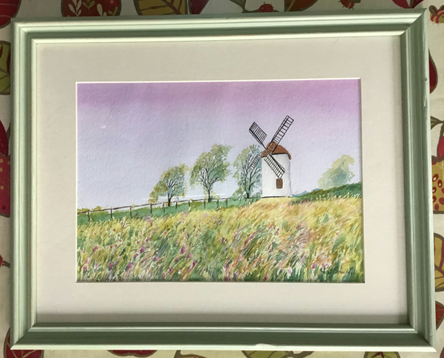 "Ashton Windmill, Original Watercolour, Framed, 20"" x 16"""