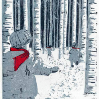 Original woodcut print children in snow limited edition with chine collé