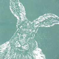 March Hare (Teal) linocut mini print