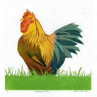 Handsome Fellow - limited edition linocut print of a cockerel