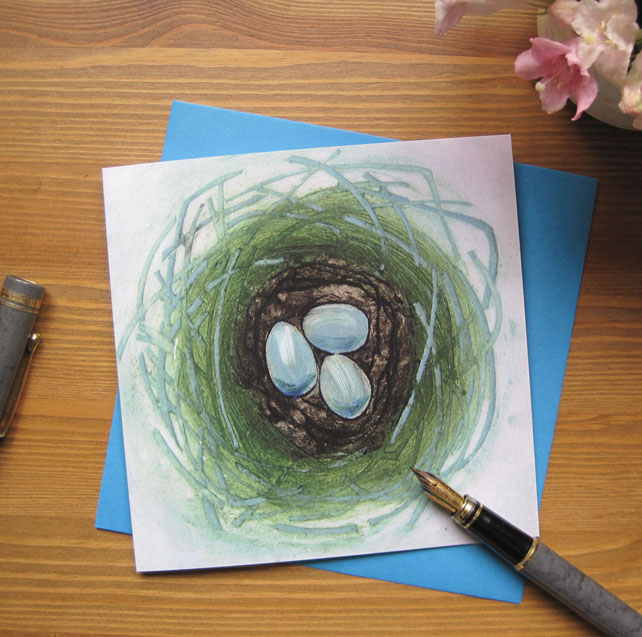 Robin Nest greetings card