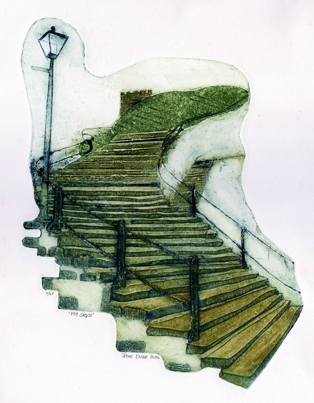 199 Steps - collagraph print of Whitby limited edition