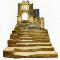Cathedral Steps - collagraph print of Wells Cathedral limited edition