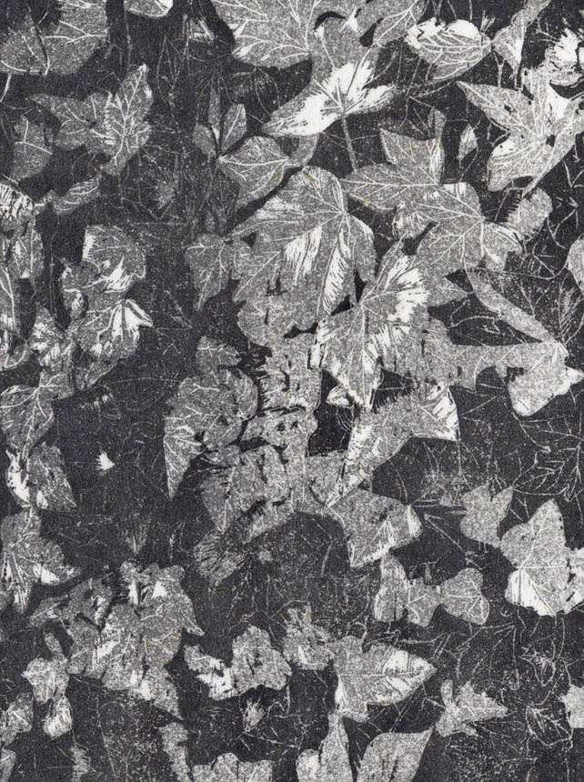 Silver Ivy - hand burnished woodcut print limited edition